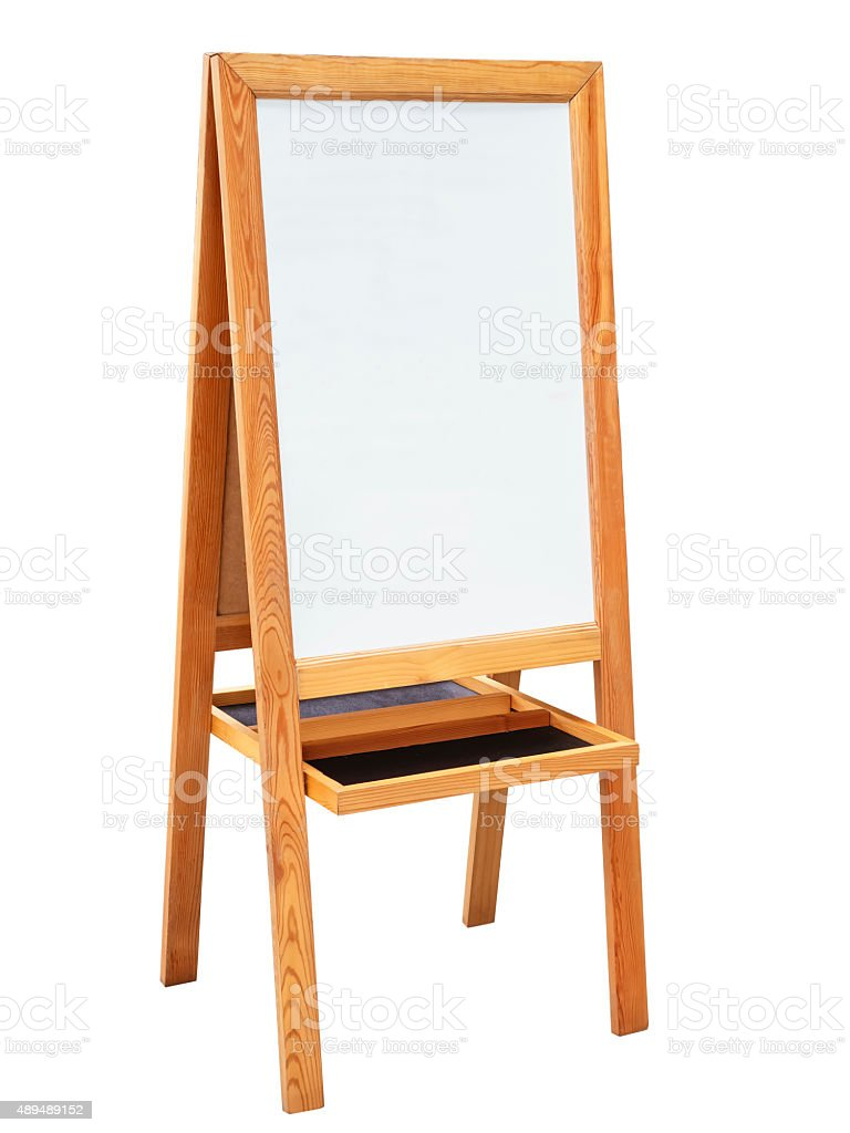 Whiteboard with Wooden Stand isolated stock photo