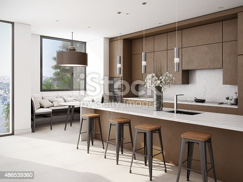 istock White-Brown Color Kitchen 486539360