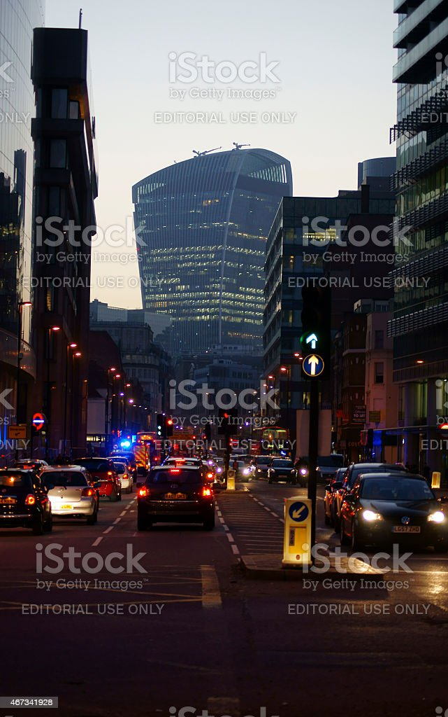 Whitechapel Road in the evening stock photo