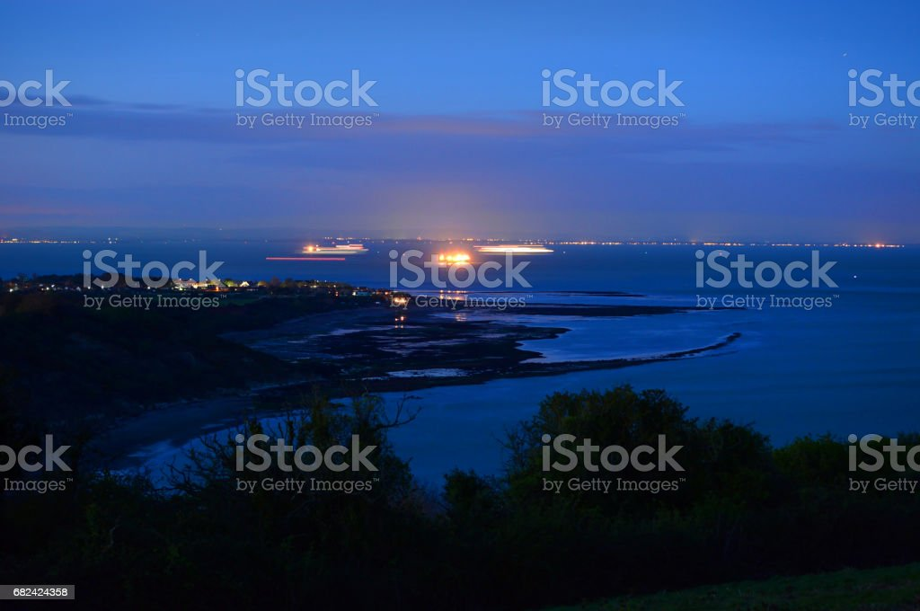 Whitecliff Bay at Night royalty-free stock photo