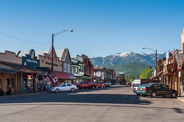 Whitefish main street in Montana stock photo