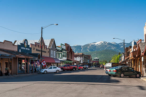 Whitefish main street in Montana stock photo