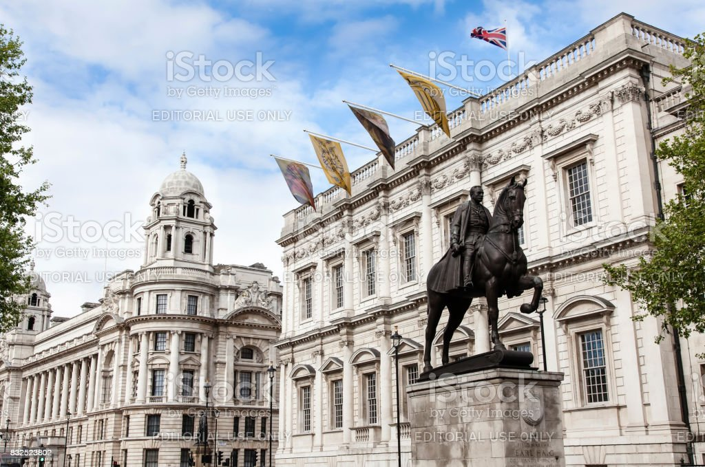 Whitehall street in London a cloudy stock photo