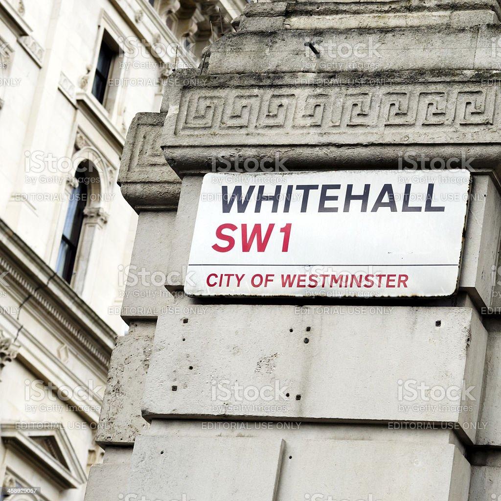 Whitehall SW1 - sign stock photo