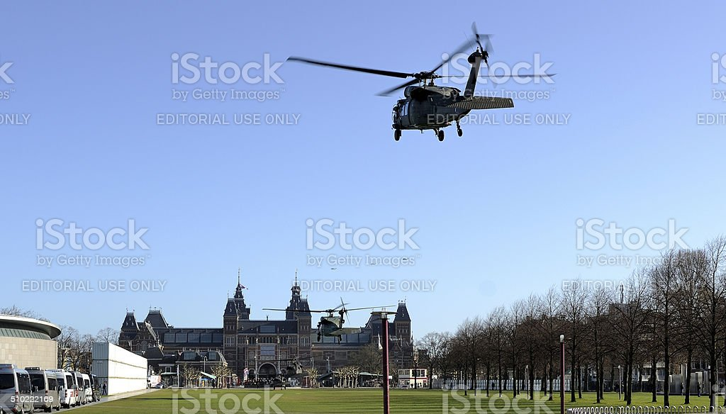 US Whitehawk helicopters of president Obama's security detail in Amsterdam stock photo