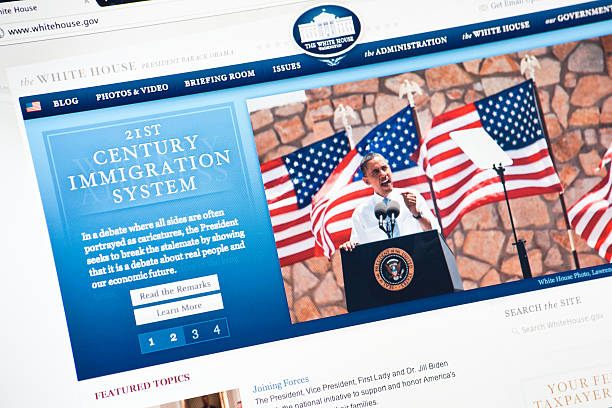 Whitehouse.gov Official Internet Page Rome, Italy - May 11, 2011: Close up of the official web site of the white house. In the home page a photograph of Obama during a public speech about immigration in Texas. The White House is the official residence and principal workplace of the President of the United States. The browser is google chrome. barack obama stock pictures, royalty-free photos & images