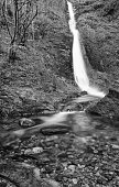 The Whitelady waterfall at Lydford Gorge, Devon, UK.