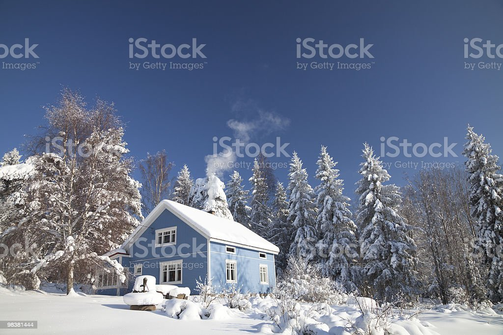 White'n'Blue Winter House royalty-free stock photo