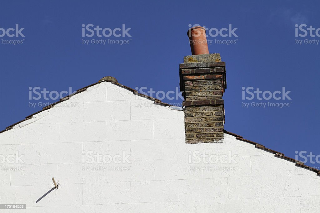 Pitched roof gable end built in 1900 copy space royalty-free stock photo
