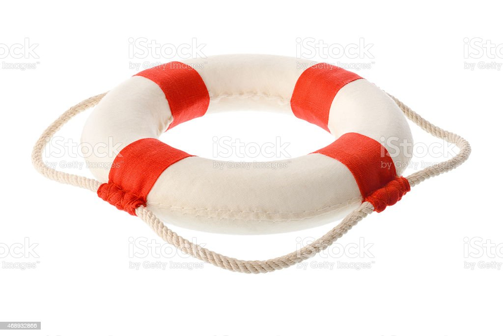 White-red lifebuoy stock photo