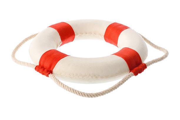 White-red lifebuoy stock photo