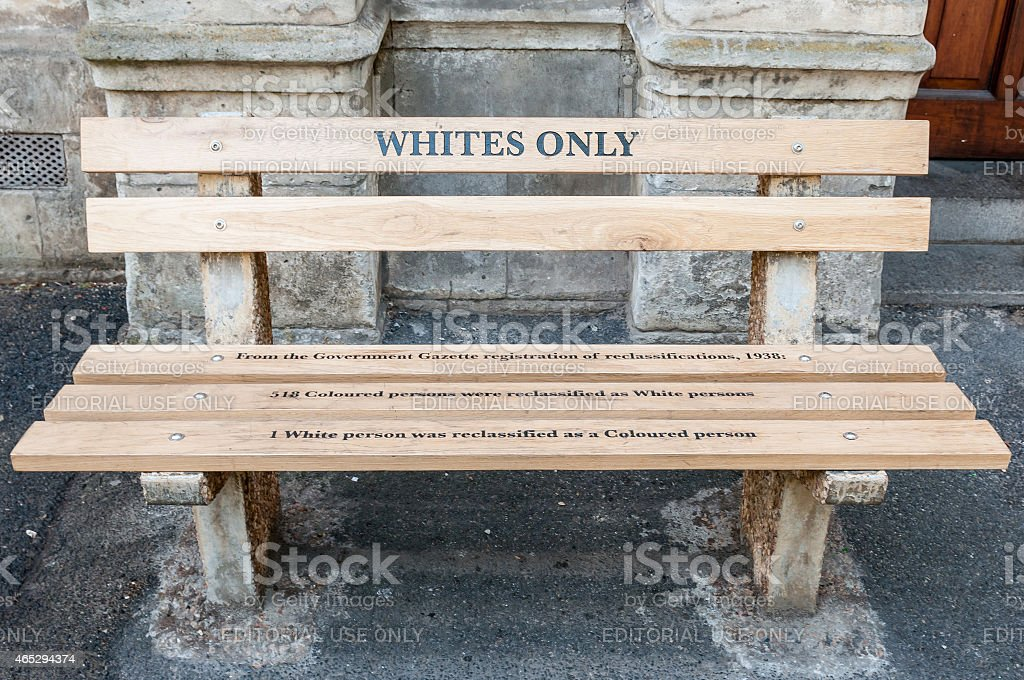 Whites only - reconstructed apartheid bench in Cape Town stock photo
