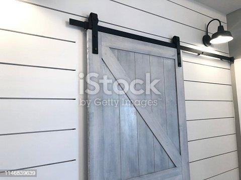 Whitewashed Barn Door Shiplap Angle