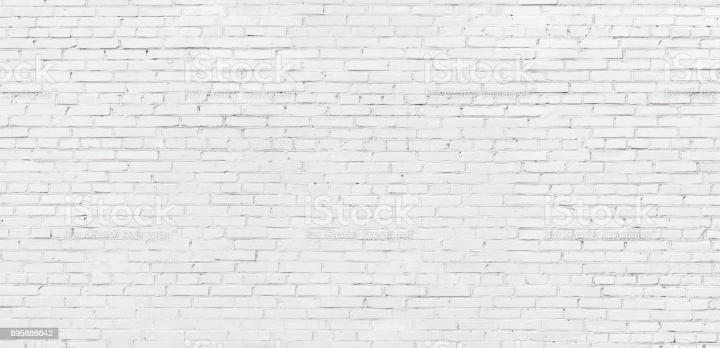 whitewashed brick wall, light brickwork background for design. White masonry stock photo