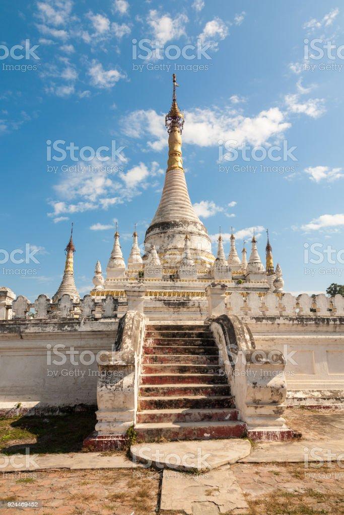 White-washed buddhist pagoda, Inwa, Burma stock photo