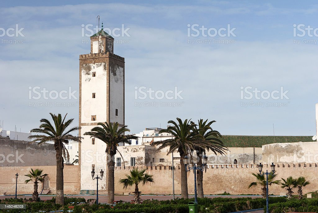 Whitewashed Mosque of Essaouira in Morocco stock photo