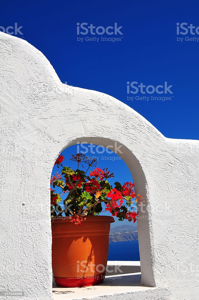 Whitewashed wall against the blue sky royalty-free stock photo