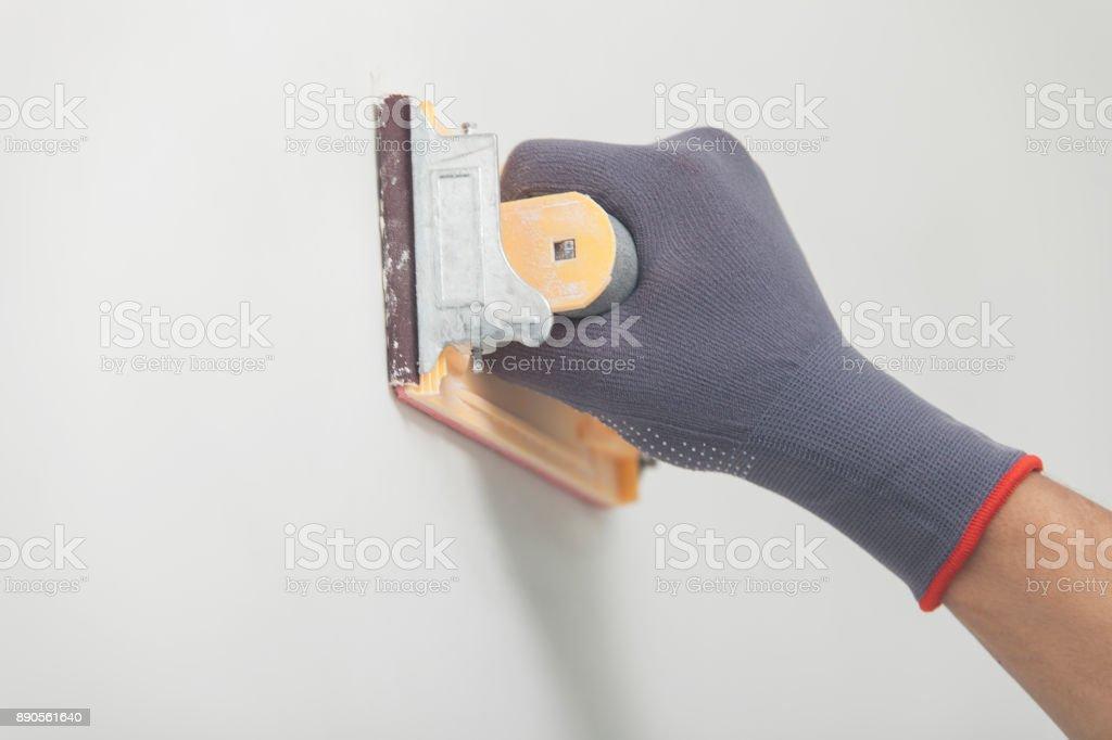 Whitewashing and alignment of walls stock photo