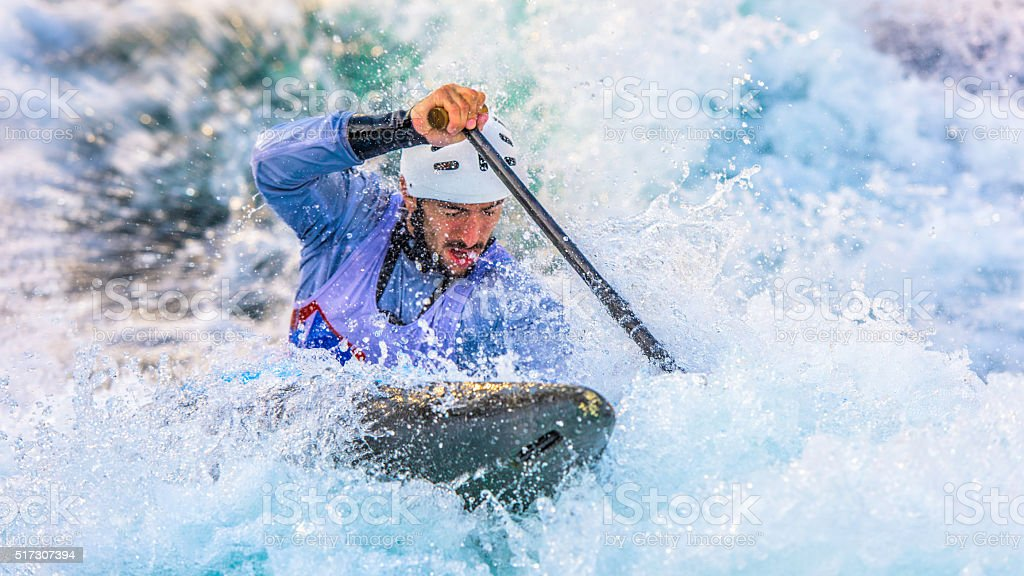 Whitewater kayaking stock photo