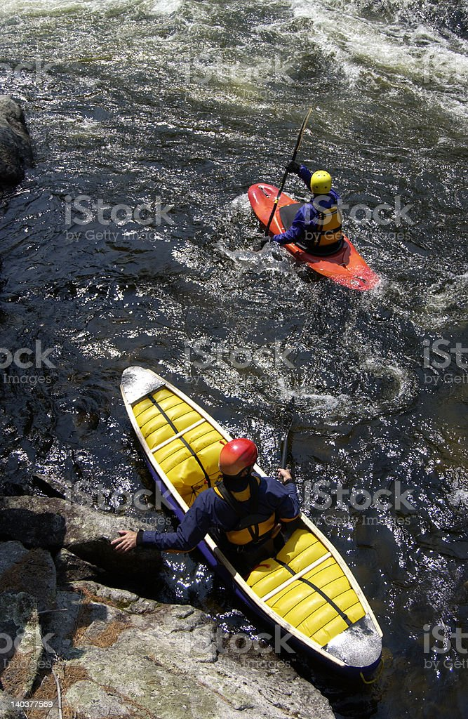 whitewater paddlers in eddy royalty-free stock photo