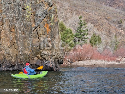 istock whitewater paddling on Poudre River in Colorado 1314824950