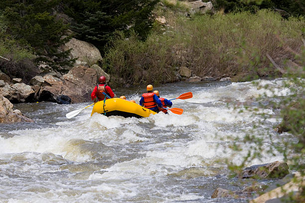 Whitewater Rafters stock photo