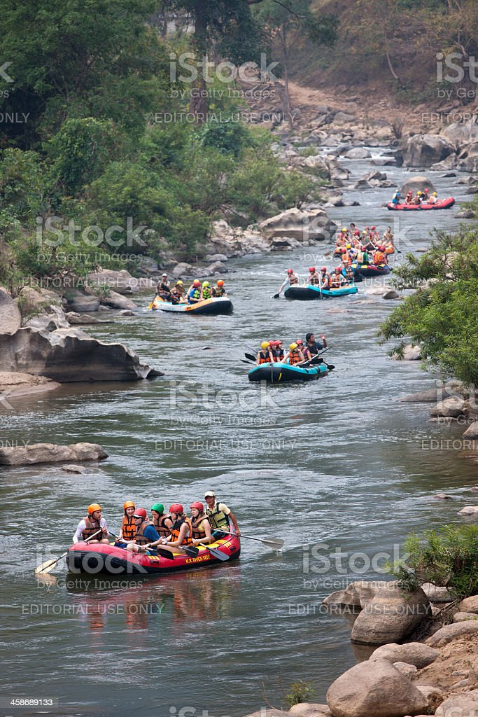 White-water rafting in Thailand. royalty-free stock photo