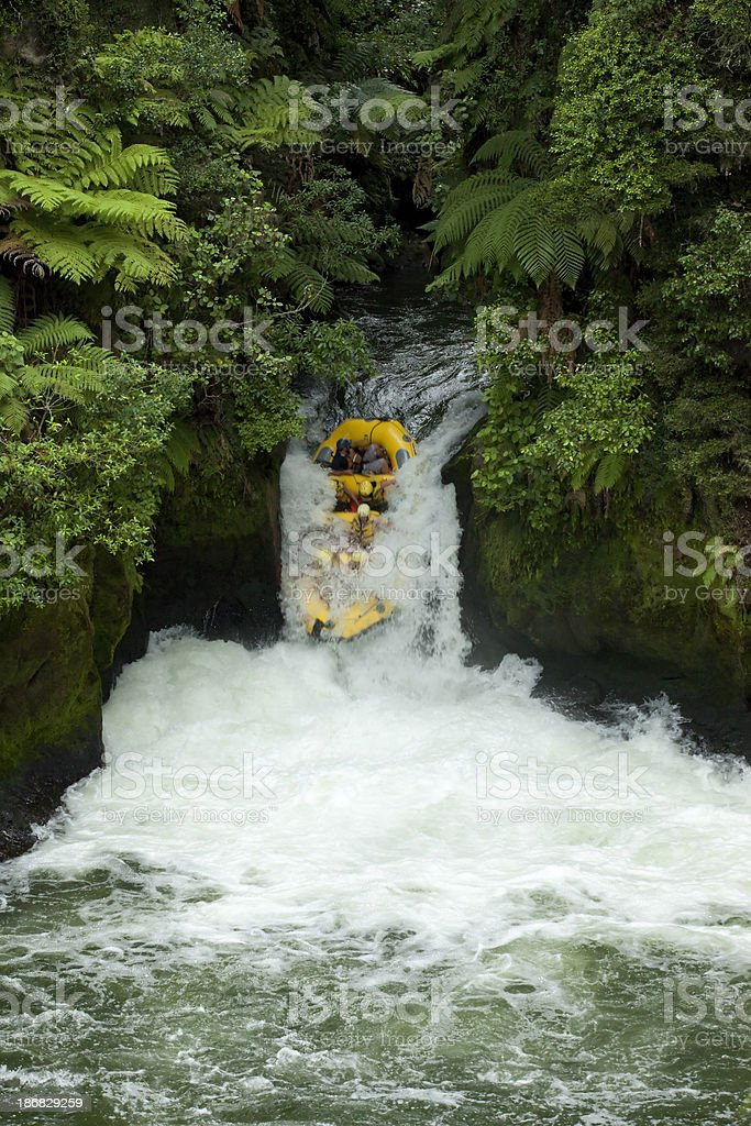 Whitewater rafting in the rainforest stock photo