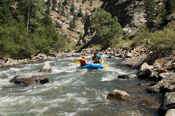 Whitewater Rafting on Clear Creek Colorado stock photo