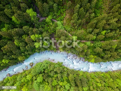 The whitewater river Steyr in a green forest in springtime. The water is still blue from the melting snow in the montains in springtime. Location: next to the small ski resort Hinterstoder in the