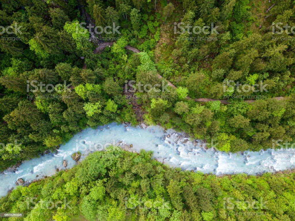 Whitewater River in einem grünen Frühlingswald (Steyr, Oberösterreich) – Foto