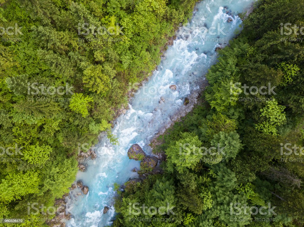 Whitewater River in a green spring forest (Steyr, Upper Austria) stock photo