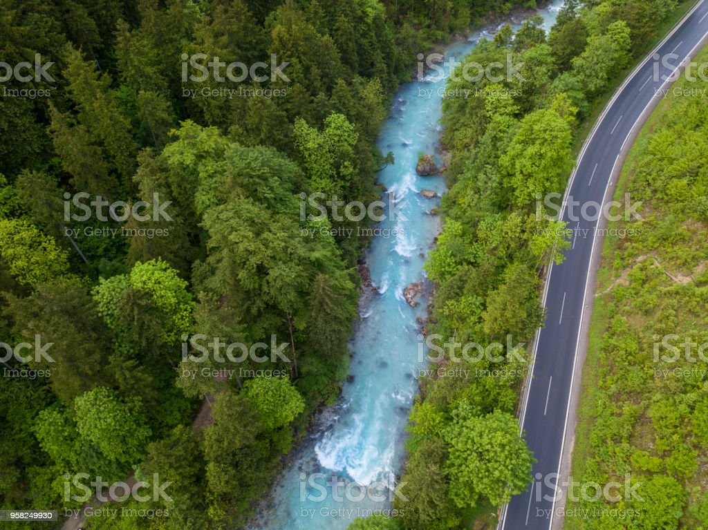 Whitewater River (Steyr, Upper Austria) next to a road stock photo
