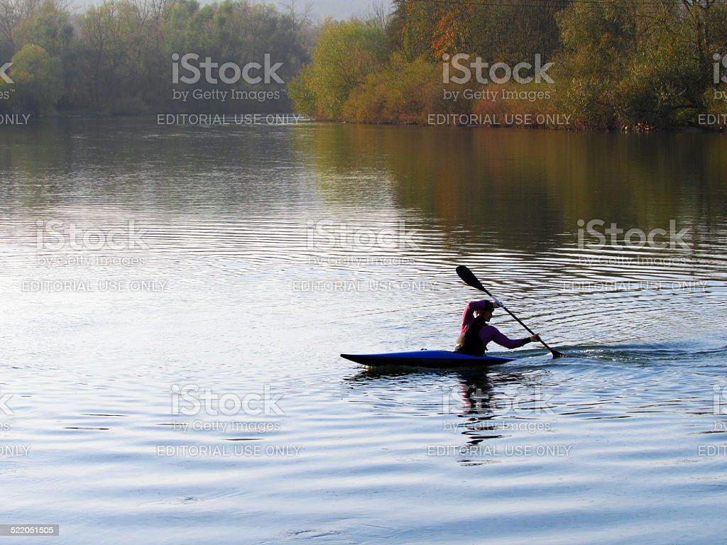 Whitewater slalom Canoeist stock photo