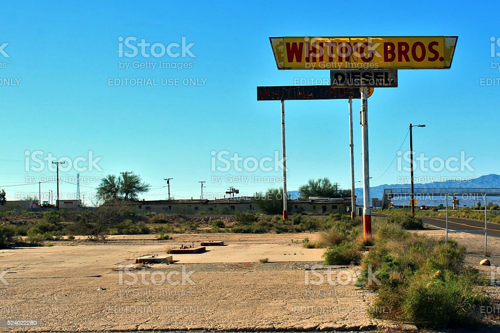 Whiting Bros. Diesel Sign Above Removed Gas Pumps stock photo