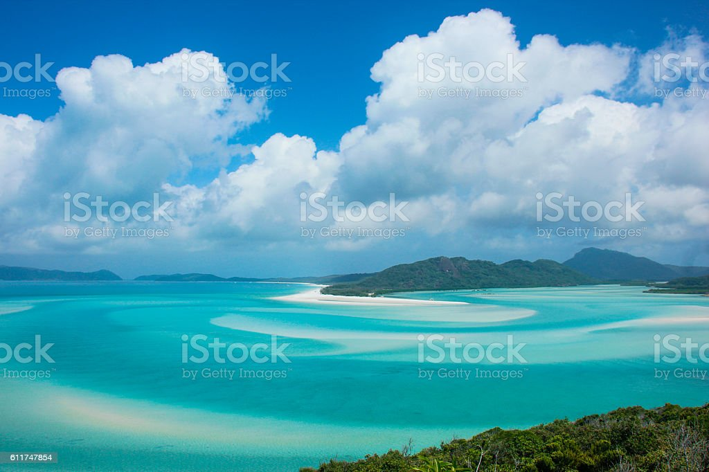 Whitsunday Islands on a cloudy and sunny day stock photo