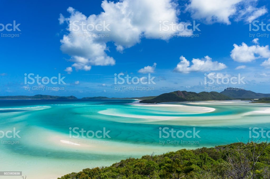 Whitsunday tropical island and Hill inlet lagoon stock photo