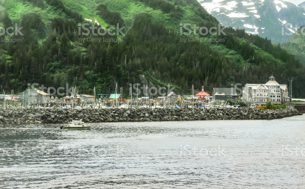 Whittier Alaska on Kenai Peninsula stock photo