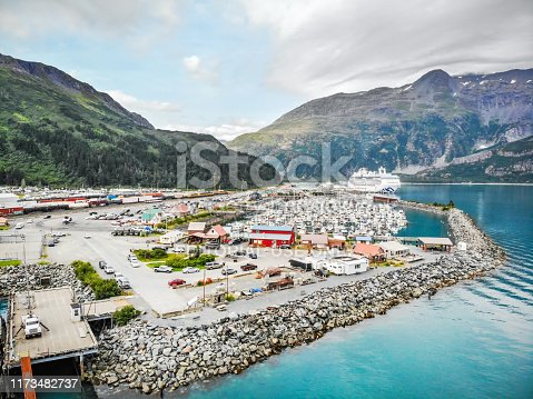 This image is of the small town of Whittier located to the East of Anchorage. Whittier is a city at the head of the Passage Canal in the U.S. state of Alaska, about 58 miles (93 km) southeast of Anchorage. The city is within the Valdez–Cordova Census Area. At the 2010 census the population was 220, up from 182 in 2000. The 2016 estimate was 214 people, almost all of whom live in a single building. Whittier is also a port for the Alaska Marine Highway. The Image was taken at a height of 150 feet and was taken by the DJI Mavic Air.