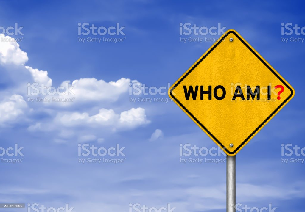 Who am I - road sign concept stock photo