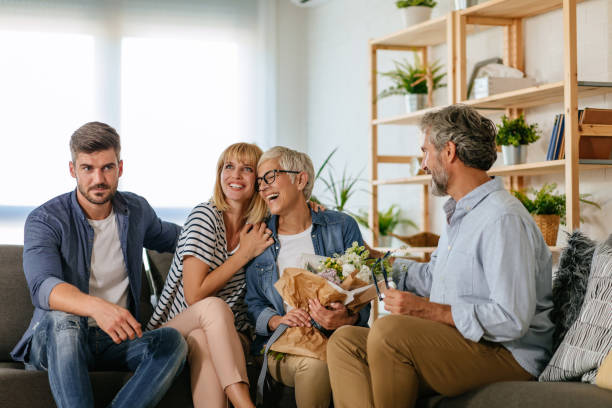 Who better to spend weekend with than family stock photo