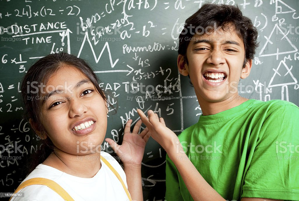 Who invented Maths? Indian Students with Mathematics Problems royalty-free stock photo