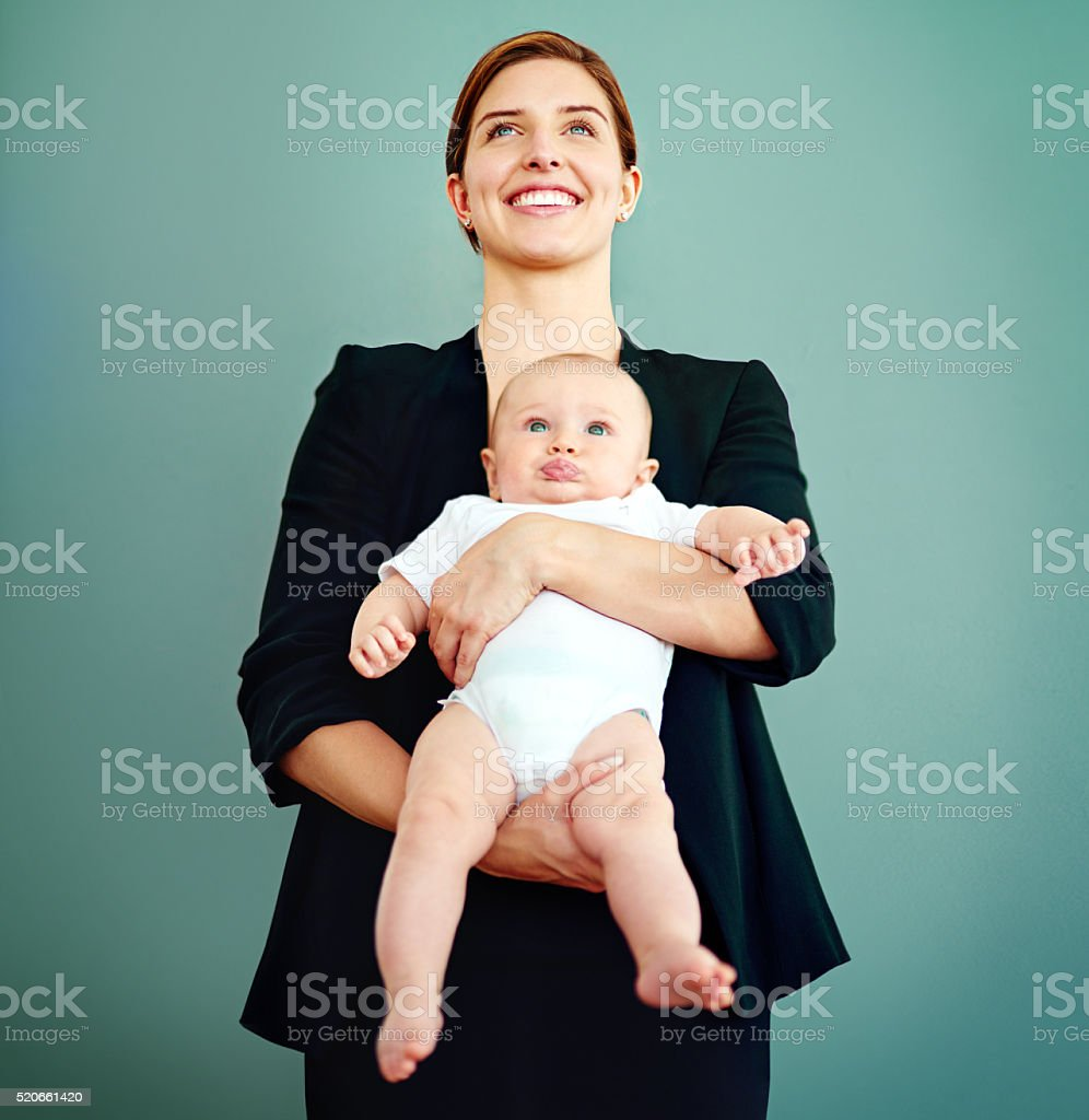 Who needs a superhero when you have mom? stock photo
