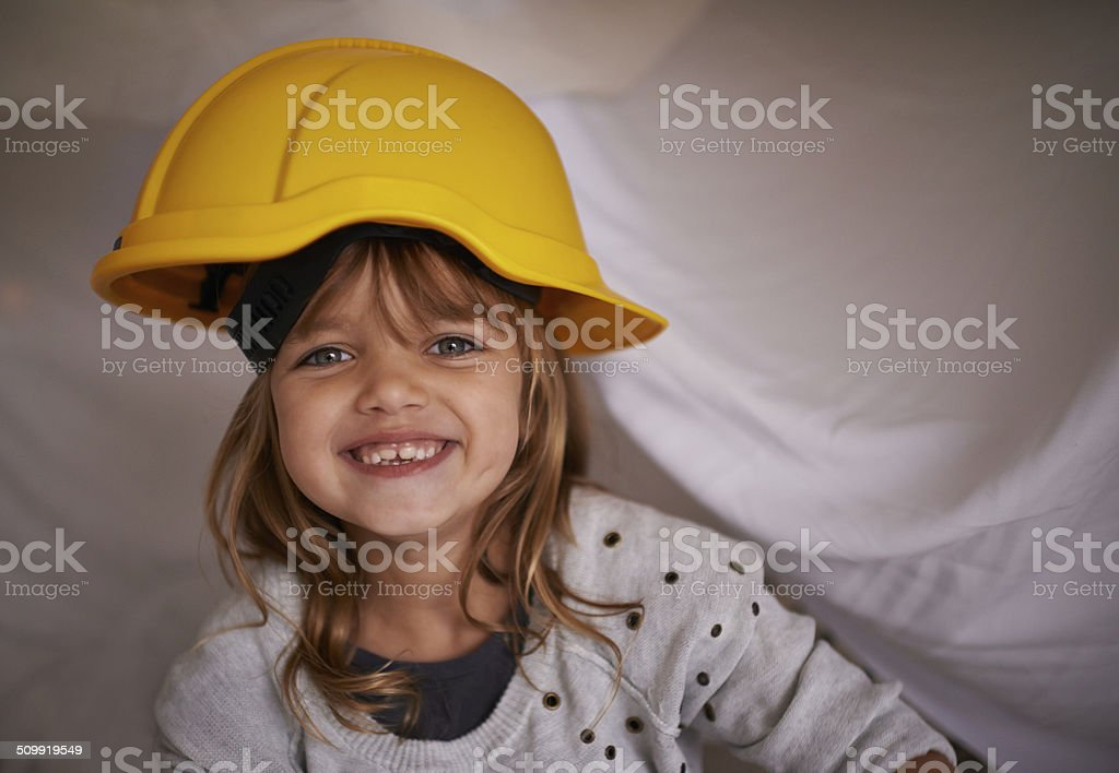 Who said helmets are just for boys? stock photo