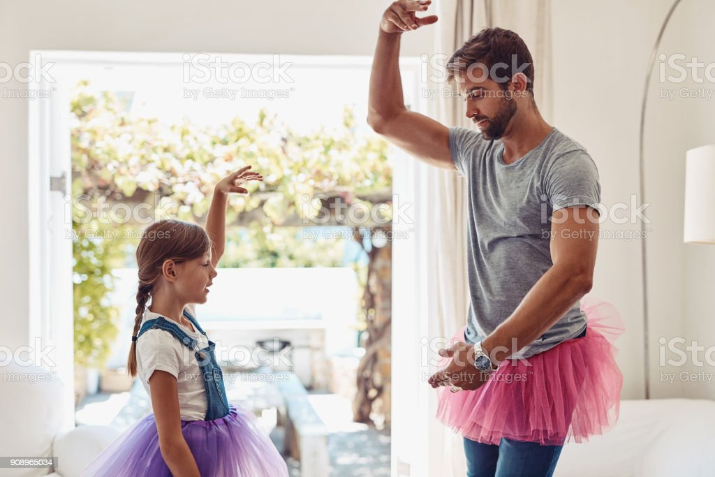 Who says dads can't dance? stock photo
