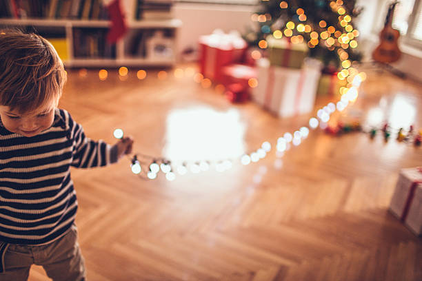 who stole the christmas lights? - decorating stock photos and pictures