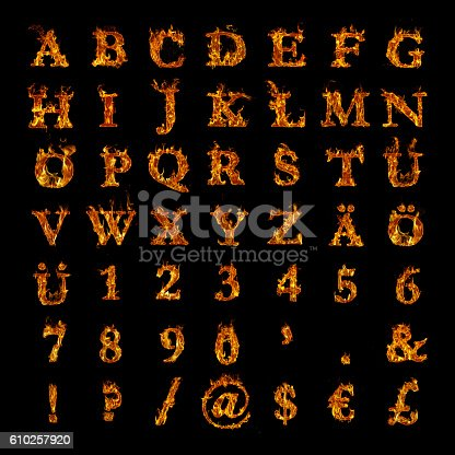 istock whole alphabet with numbers and punctuation marks in burning flames 610257920