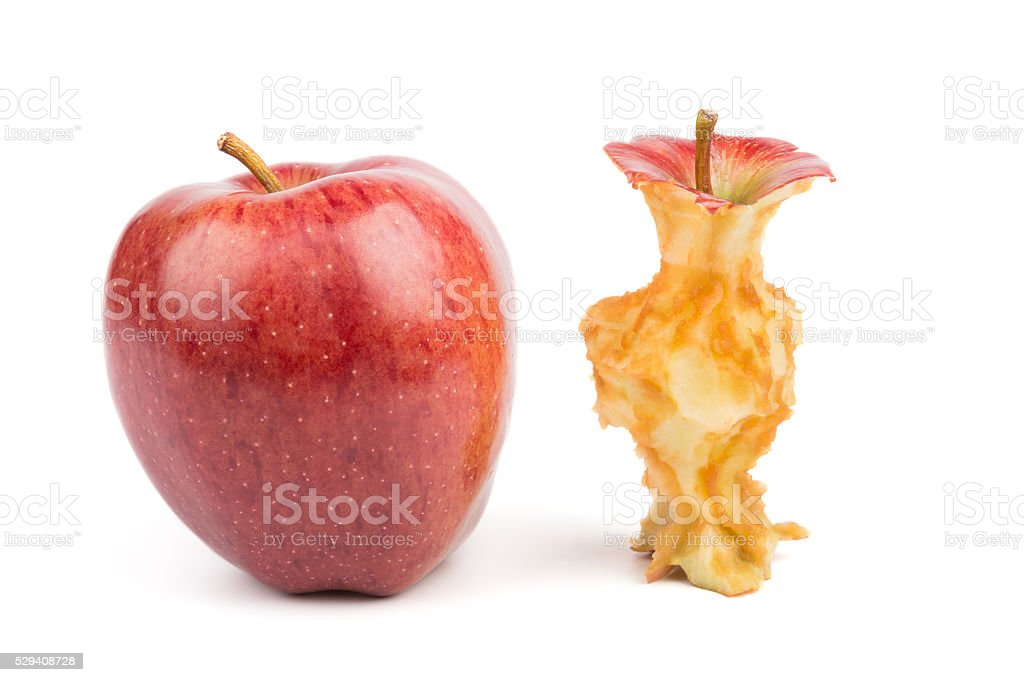 Whole and eaten apples. Isolated stock photo