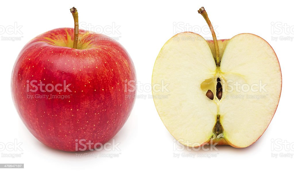 Whole and half apple stock photo