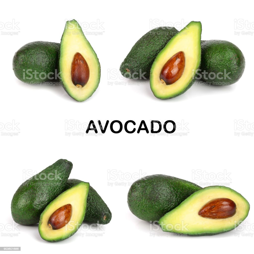 whole and half avocado isolated on white background close-up. Top view. Set or collection stock photo